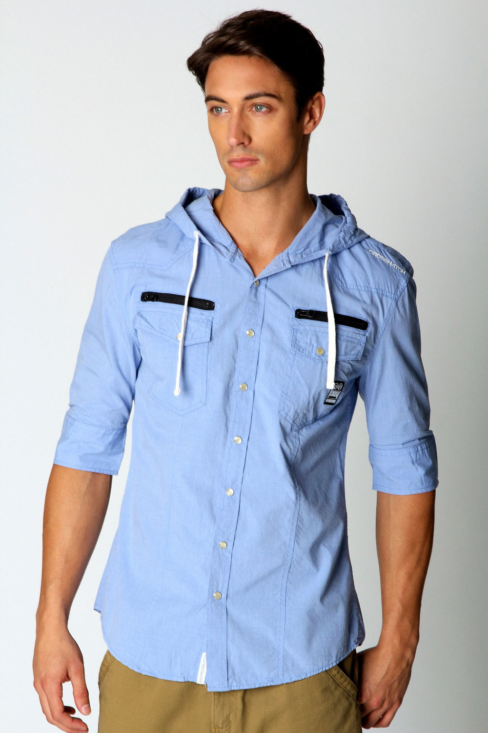 Crosshatch-Nickelson-Short-Sleeved-Hooded-Denim-Shirt