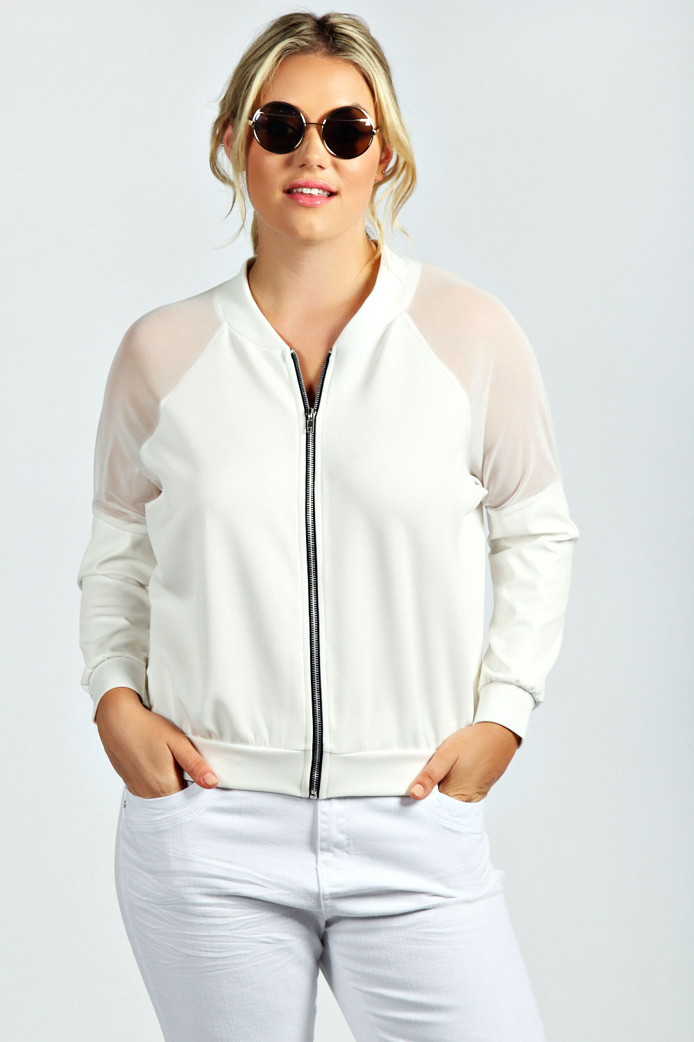 White mesh bomber jacket – Novelties of modern fashion photo blog