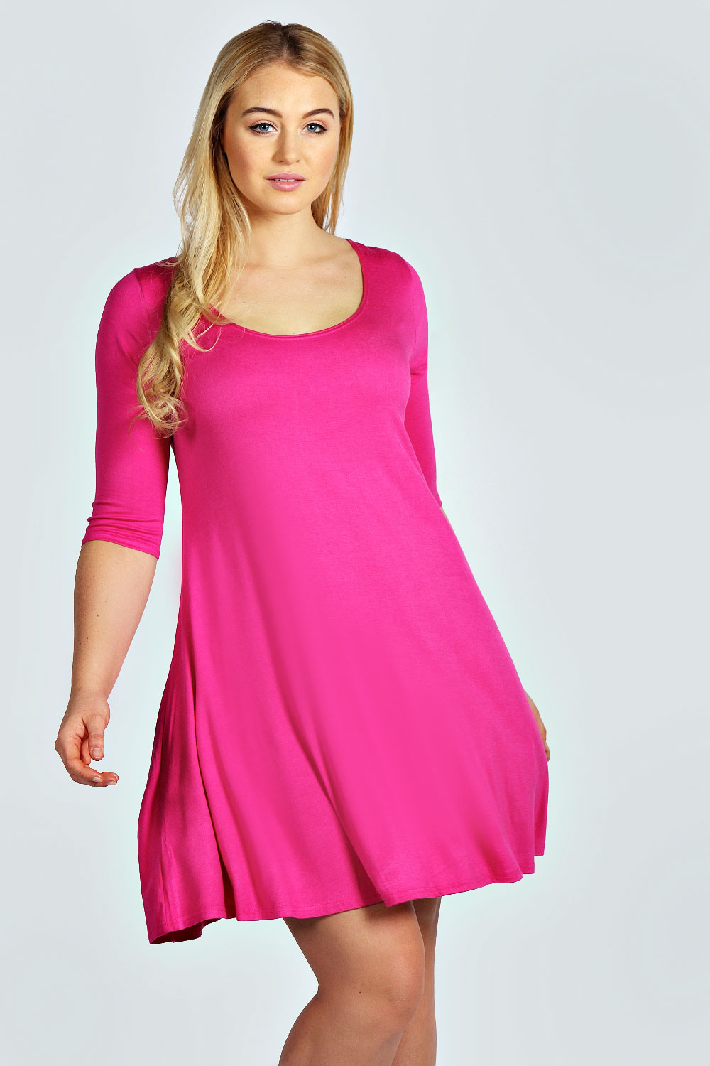 Boohoo-Womens-Plus-Size-Cassie-Hip-Length-Round-Neck-3-4-Sleeve-Swing-Dress