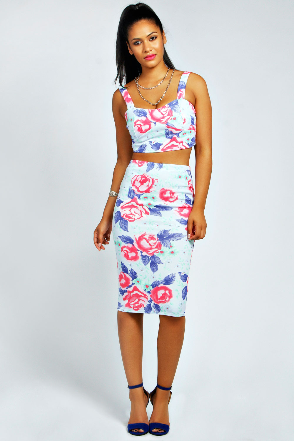 boohoo womens rona pastel floral bralet top and midi skirt