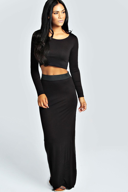 boohoo womens tilly sleeve crop top maxi skirt