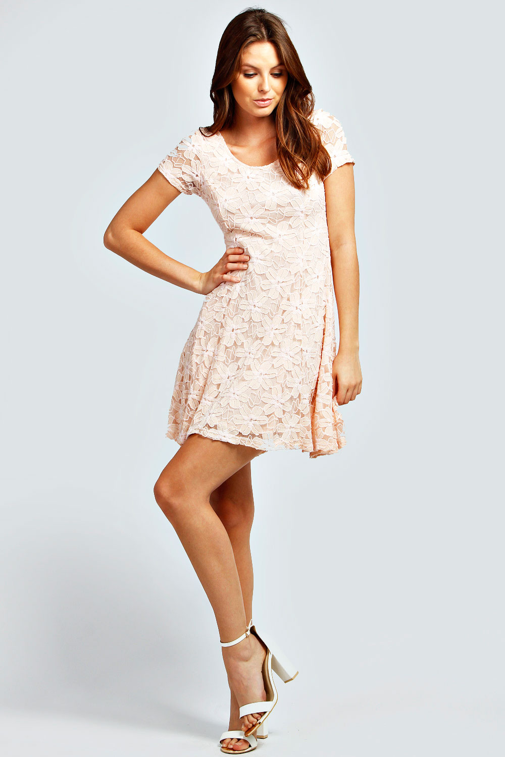 Boohoo-Womens-Ladies-Tina-Floral-Lace-Crew-Neck-Cap-Sleeve-Skater-Dress