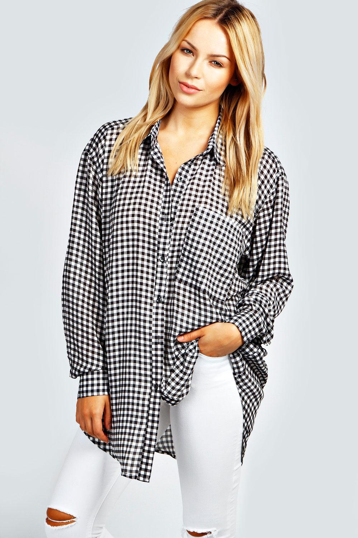 boohoo womens ladies kalie gingham long sleeved oversized shirt in black. Black Bedroom Furniture Sets. Home Design Ideas