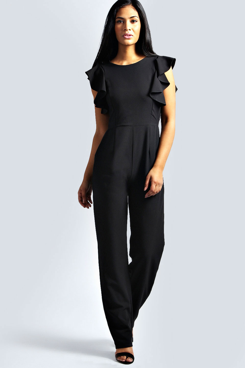 Boohoo Womens Petite Gianna Woven Frill Jumpsuit Playsuit All In One Trousers