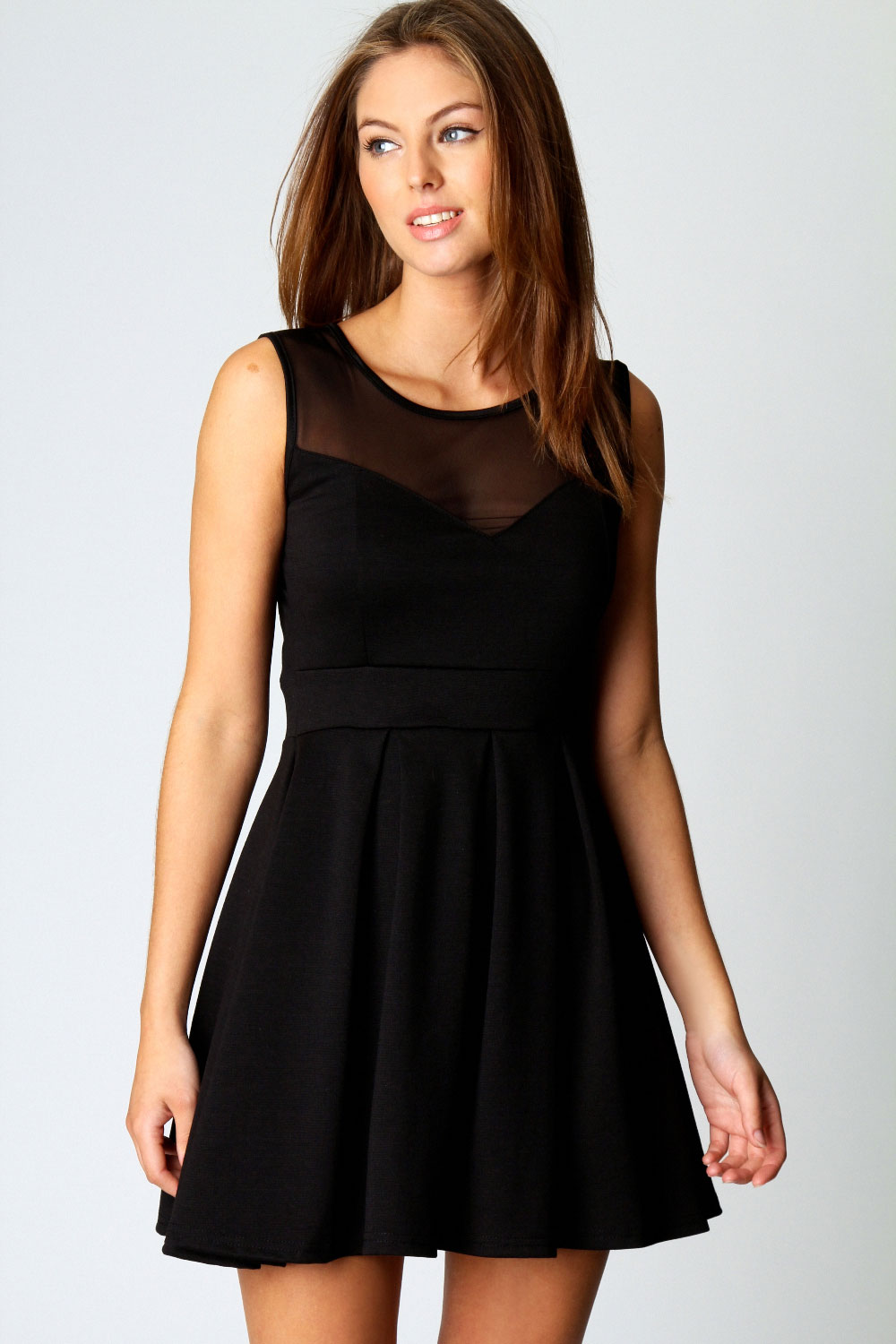 Black dress skater - Image Is Loading Boohoo Cheryl Polyester Skater Dress With Mesh Top