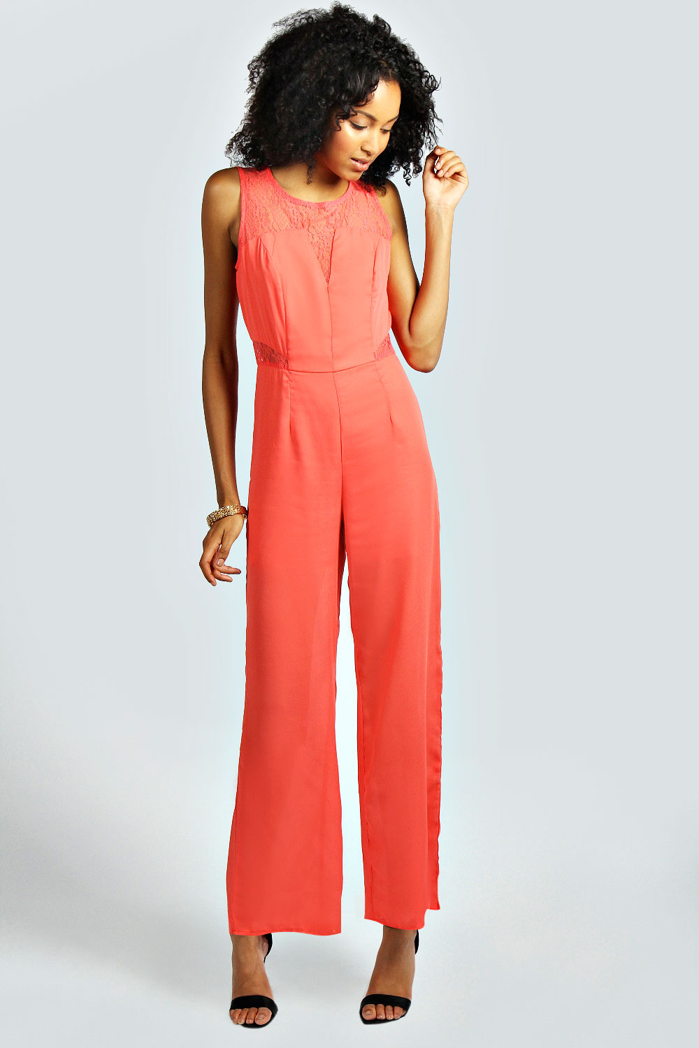 Boohoo Womens Hazel Lace Detail Wide Leg Jumpsuit Playsuit All In ...