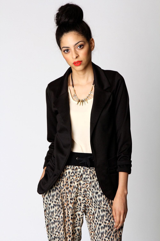 Boohoo-Miranda-Ruched-Sleeve-Collared-Jersey-Blazer-Jacket