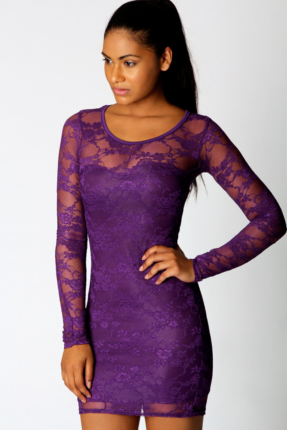 Long sleeve short purple dress