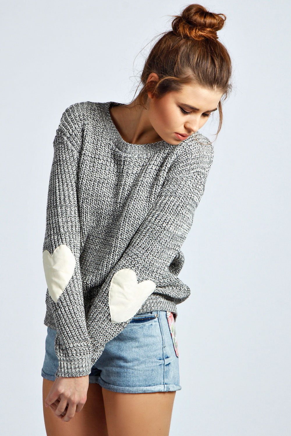 Boohoo Womens Ladies Harper Crew Neck Long Sleeve Hearted Elbow Patch Jumper