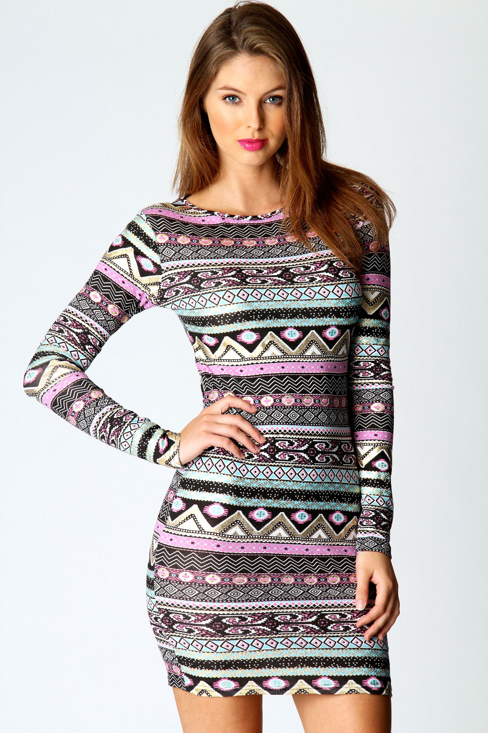 Boohoo-Victoria-Multi-Coloured-Geo-Foiled-Bodycon-Dress-in-Multi