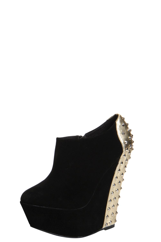 boohoo greta black suedette gold studded wedge shoe boot