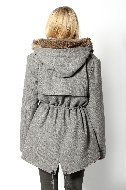 Boohoo Adrianna Wool Mix Drawcord Coat Faux Fur Hood Jacket In ...