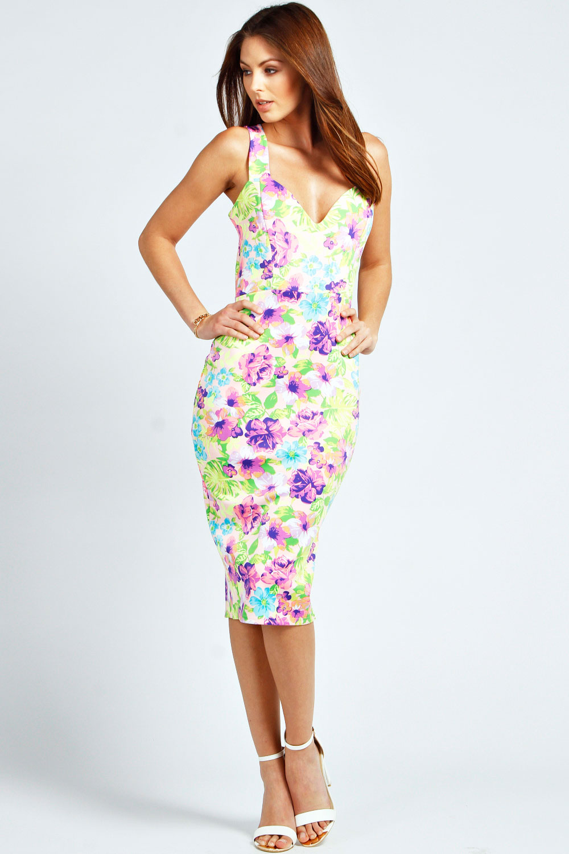 Bodycon Floral midi dress