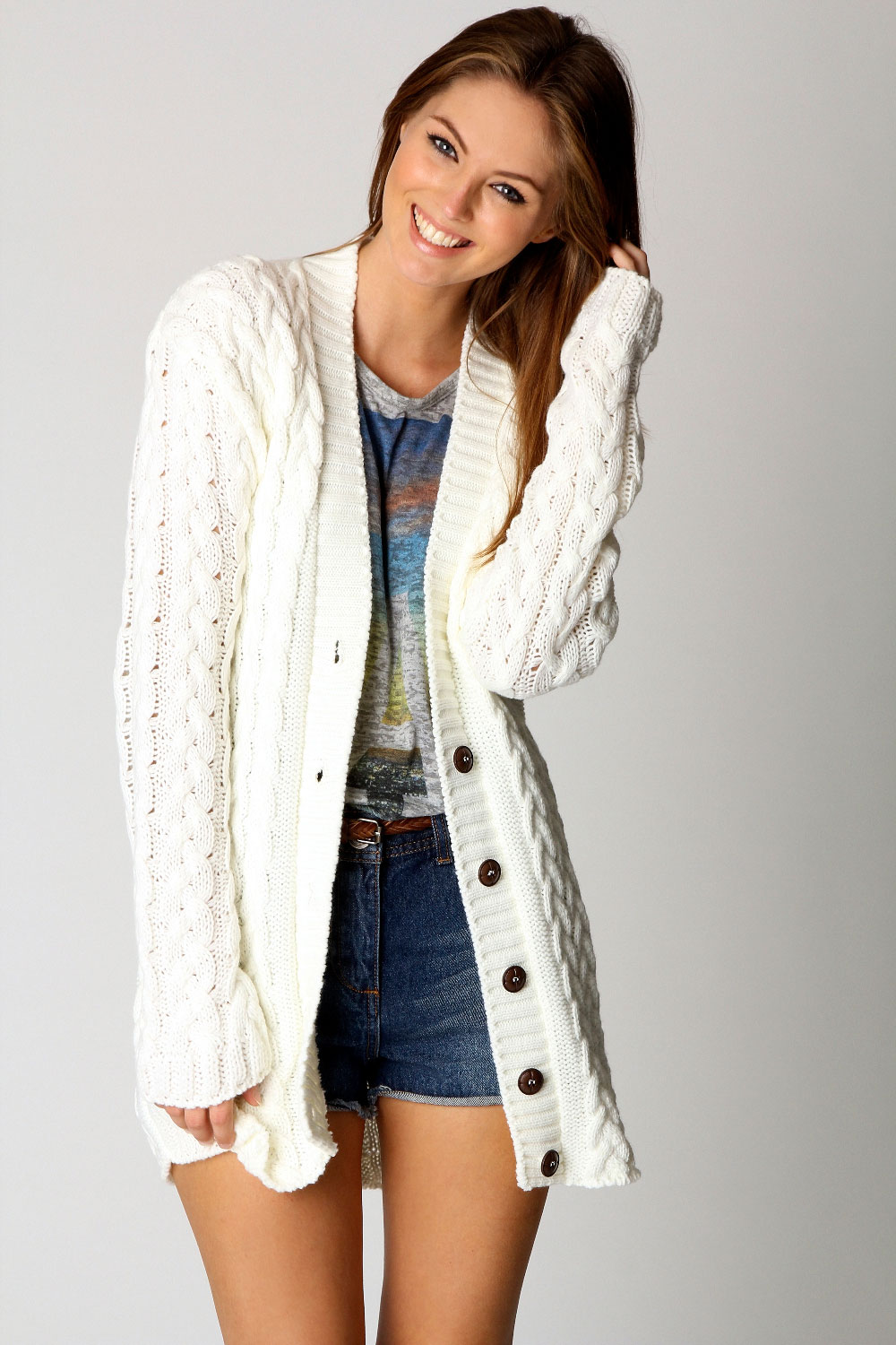 Long Cream Cable Knit Sweater - Cardigan With Buttons