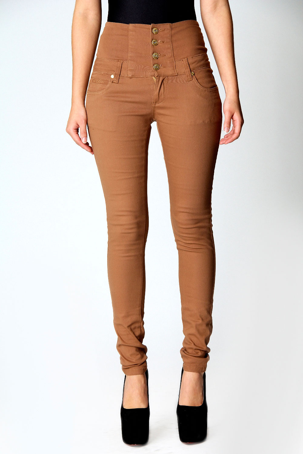 High Waisted Tan Jeans - Jeans Am