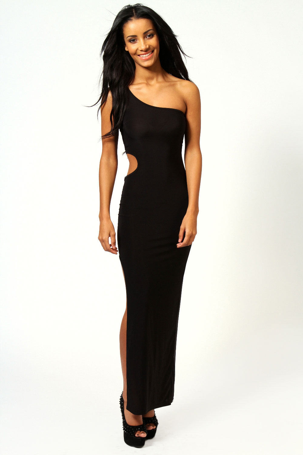 Boohoo-Womens-Ladies-Erin-One-Shoulder-Cut-Out-Waist-Slinky-Maxi-Dress