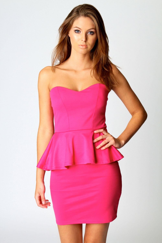 Boohoo Sarah Sweetheart Peplum Dress   eBay