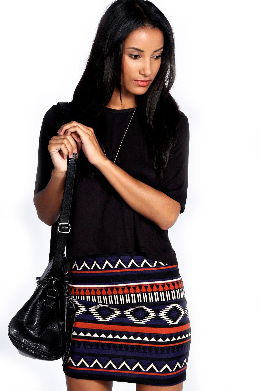 Boohoo Womens Ladies Blake Aztec Crepe Mini Skirt in Multi Colour Stretch Casual