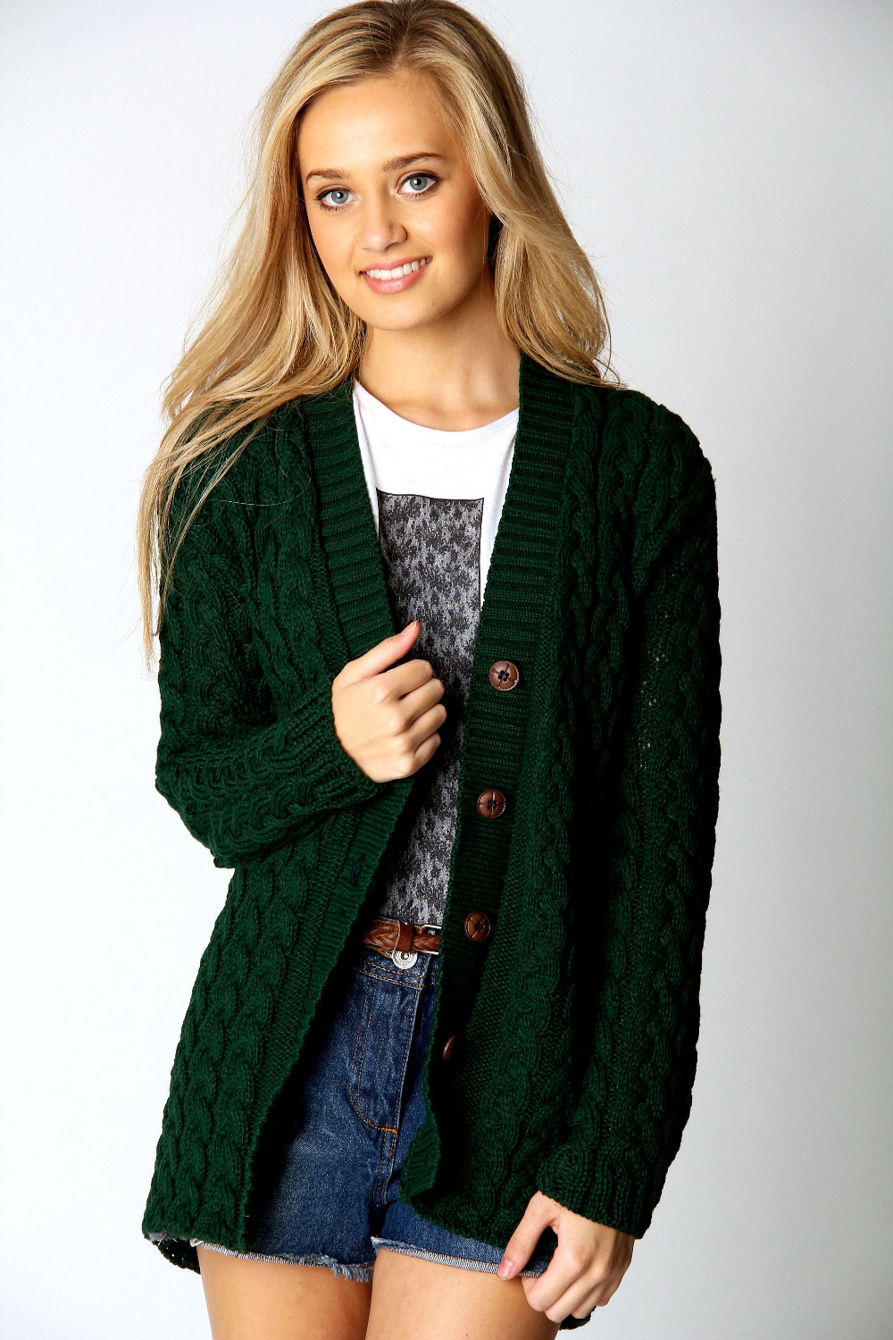 Boohoo Lucy Cable Knit Long Sleeve Hip Length Cardigan