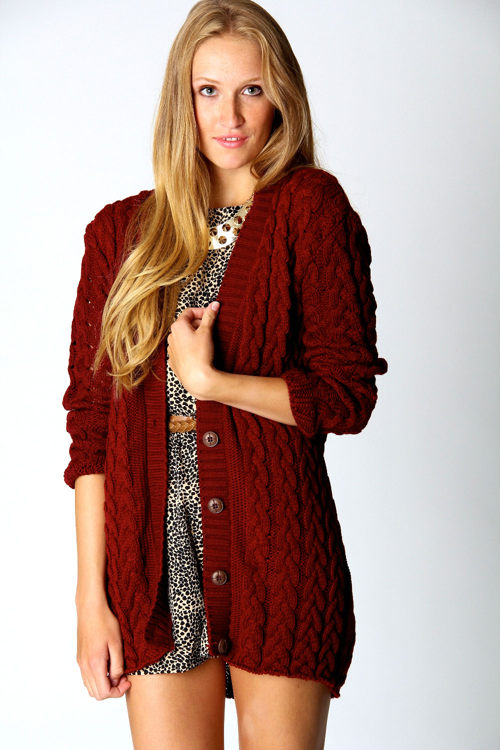 Boohoo Womens Ladies Lucy Cable Knit Long Sleeve Hip ...