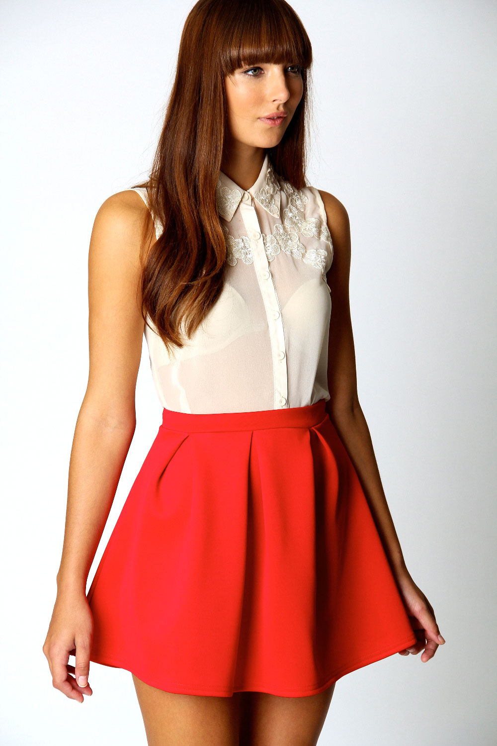 Boohoo-Kate-Box-Pleat-Skater-Hip-Length-Skirt thumbnail 9
