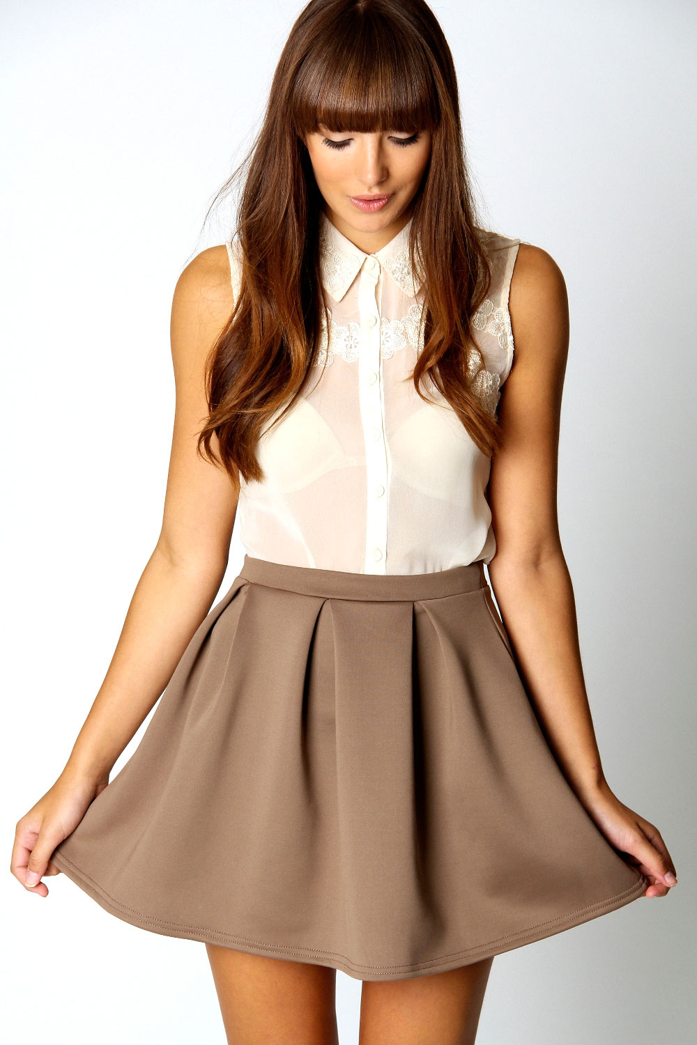 Boohoo-Kate-Box-Pleat-Skater-Hip-Length-Skirt thumbnail 6
