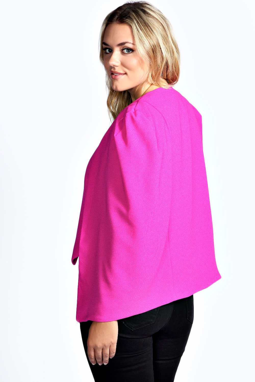 Boohoo Womens Ladies Plus Size Darcie Woven Cape Jacket in Pink | eBay