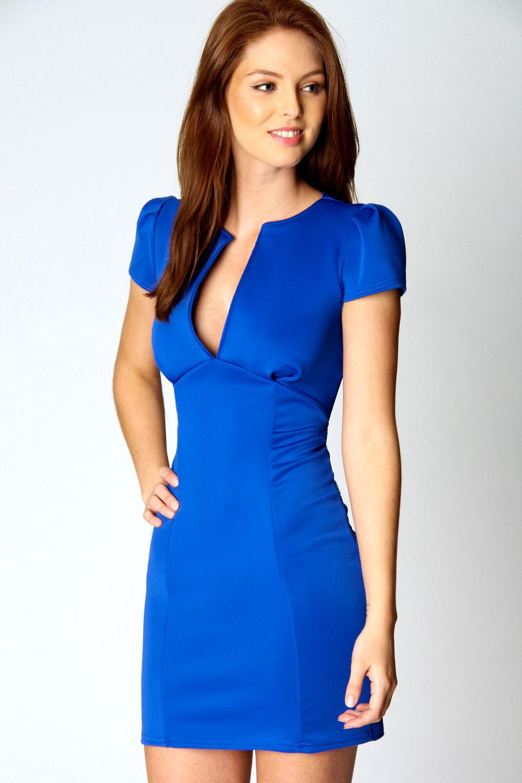 Boohoo-Womens-Ladies-Billie-V-Neck-Cap-Sleeve-Polyester-Bodycon-Dress