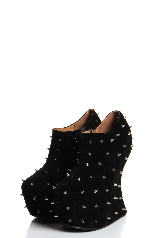 boohoo pheonix black spiked suedette wedge shoe boots ebay