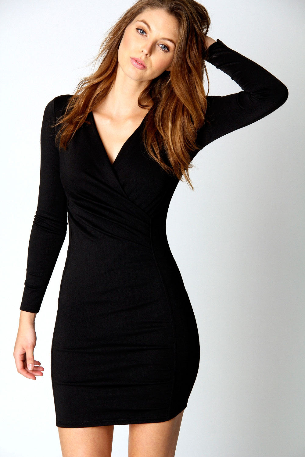 Boohoo Megan V-Neck Long Sleeve Short Wrap Dress in Black | eBay
