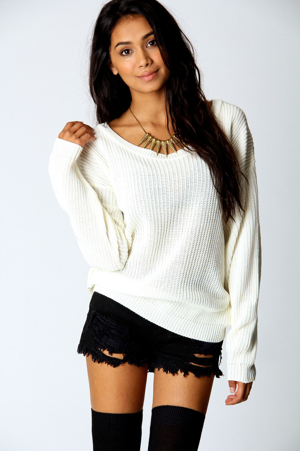 Boohoo-Womens-Ladies-Katherine-Waist-Length-Long-Sleeve-Oversized-Jumper