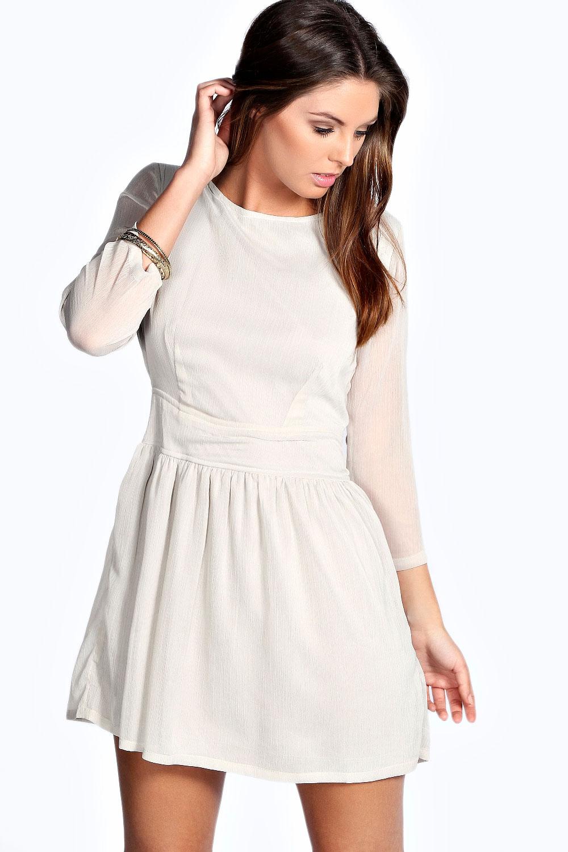 Boohoo Womens Imogen Hip Length 3/4 Woven Skater Dress