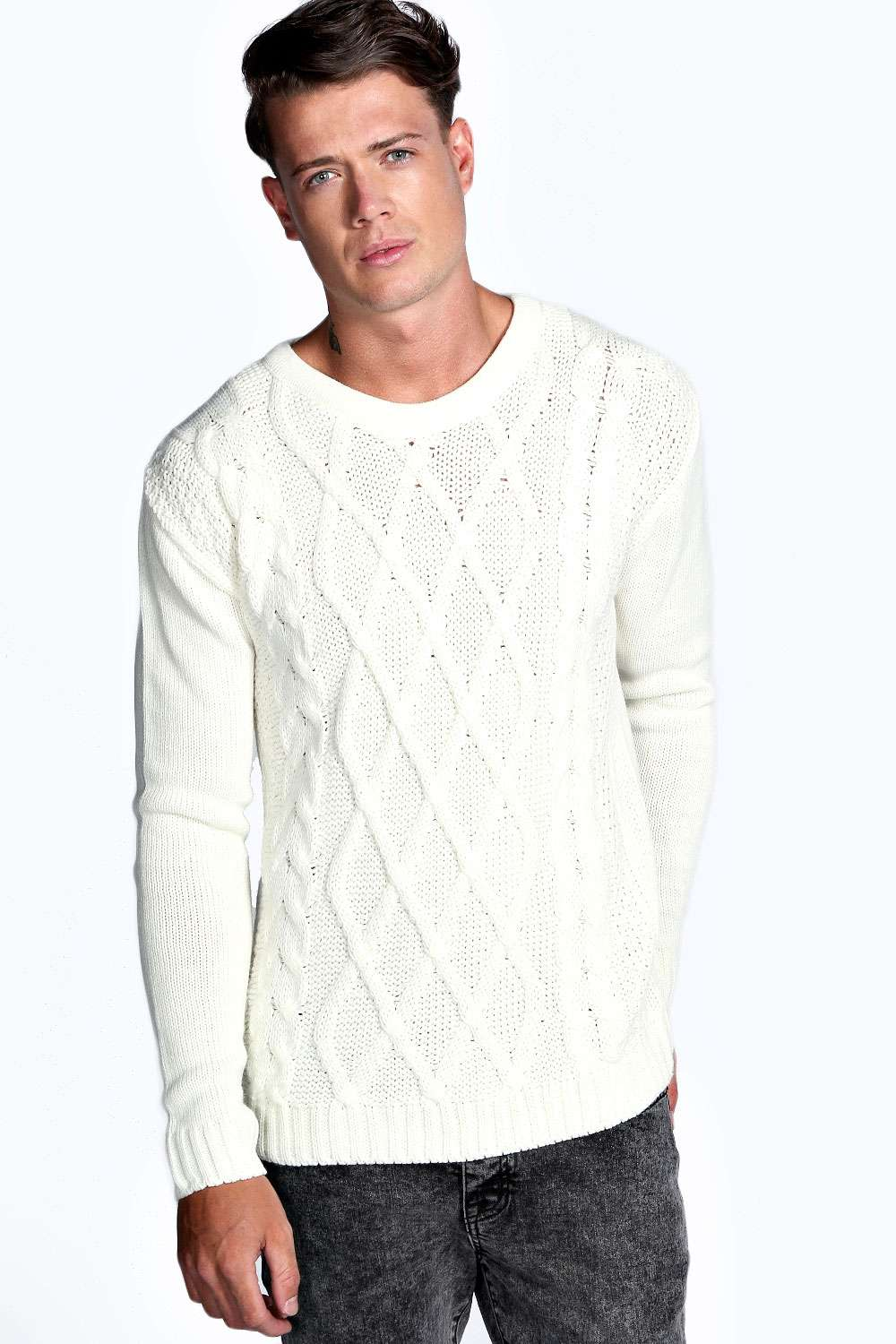 Boohoo Mens Cable Knit Long Sleeve Crew Neck Top Pullover Jumper