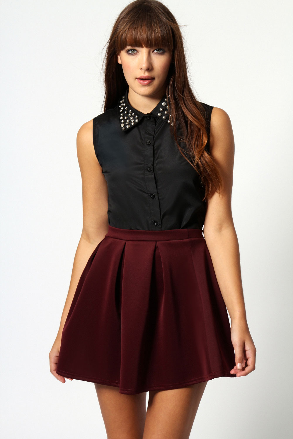 Boohoo-Kate-Box-Pleat-Skater-Hip-Length-Skirt thumbnail 2
