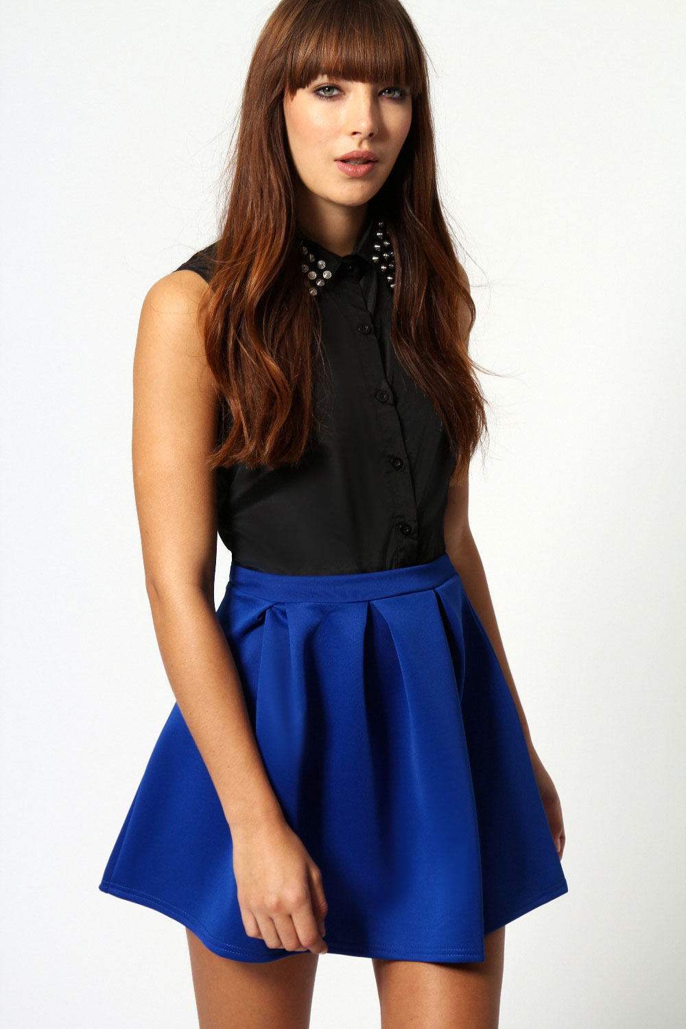 Boohoo-Kate-Box-Pleat-Skater-Hip-Length-Skirt thumbnail 4