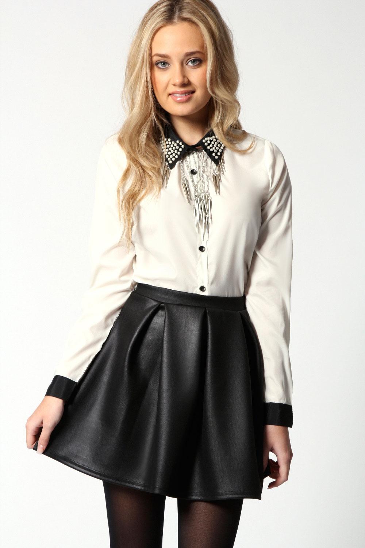 Boohoo Womens Ladies Liz Wet Look Scuba Box Pleat Skater Skirt In Black | eBay