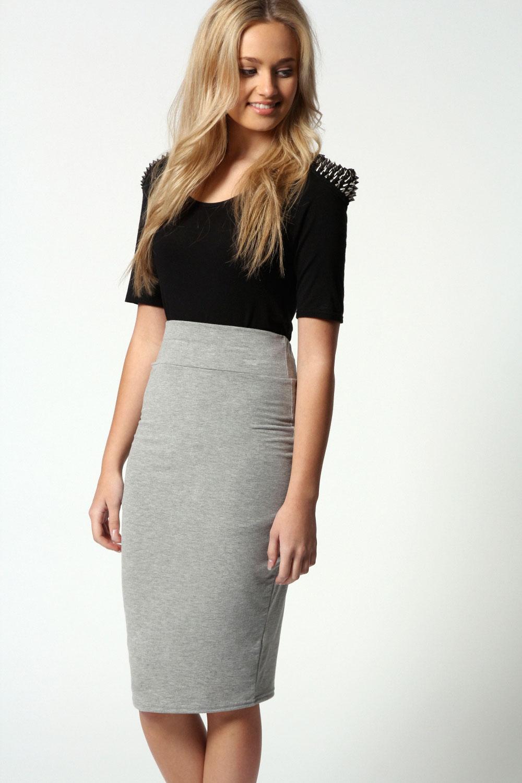 boohoo maddy midi length viscose pencil skirt ebay