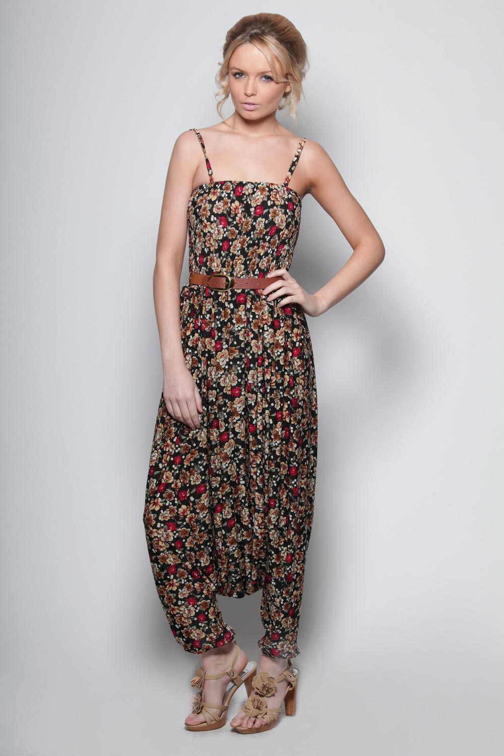 Boohoo-Martine-Floral-Draped-Harem-Jumpsuit-in-Black-BNWT