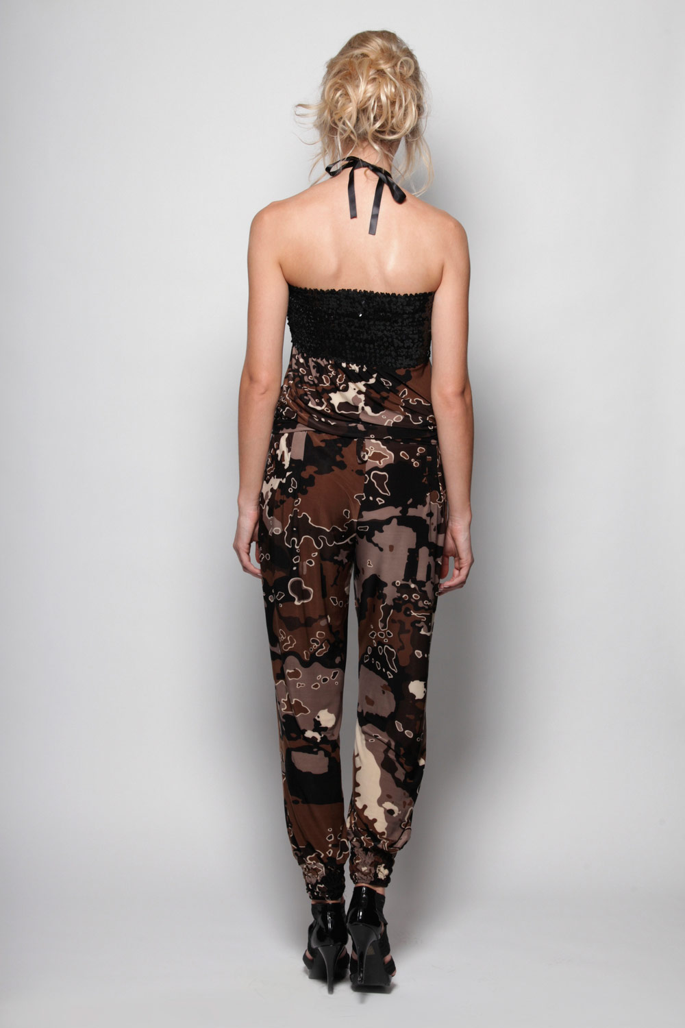Boohoo-Reese-Sequin-Camoflage-Bodice-Jumpsuit-in-Brown-BNWT