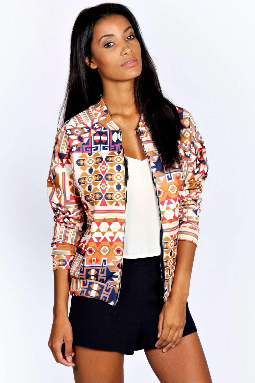 Boohoo Womens Minnie Long Sleeve Zip Front Aztec Print Bomber