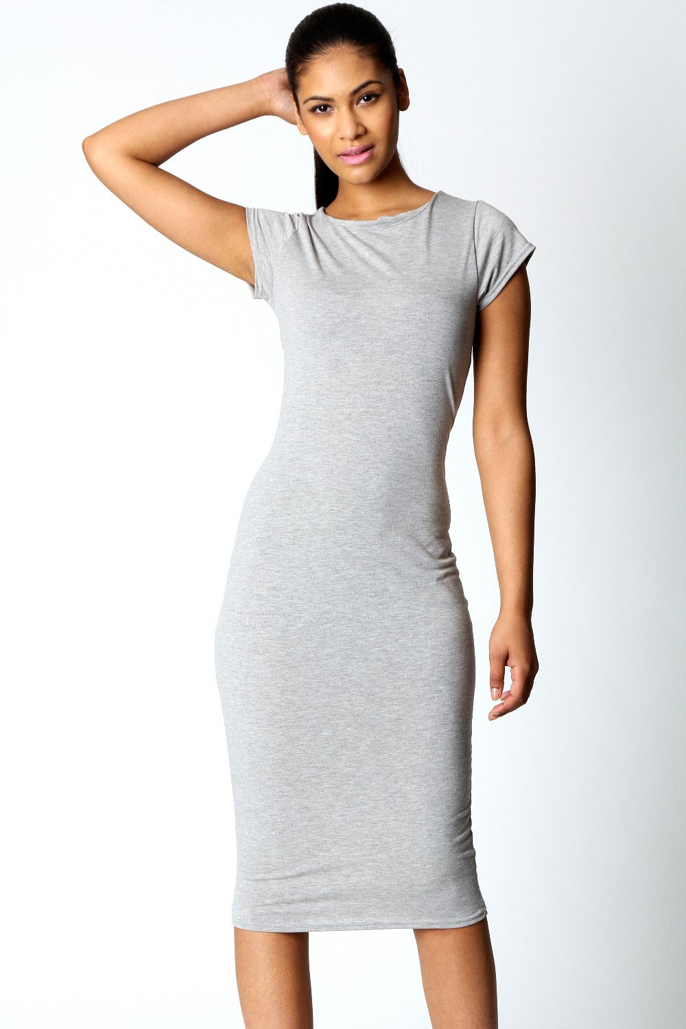 Excellent Boohoo Womens Ladies Cara Cap Sleeve Jersey Bodycon Midi Dress BC1A
