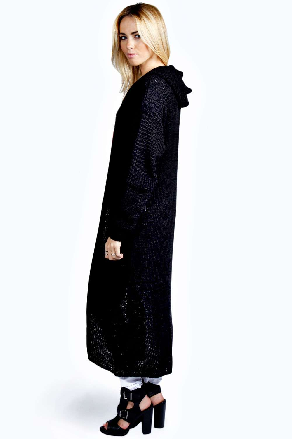 Boohoo Womens Emily Full Length Long Sleeve Hooded Maxi Cardigan ...