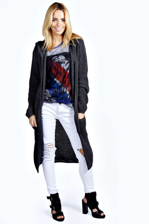 Boohoo Womens Emily Full Length Long Sleeve Hooded Maxi Cardigan ...