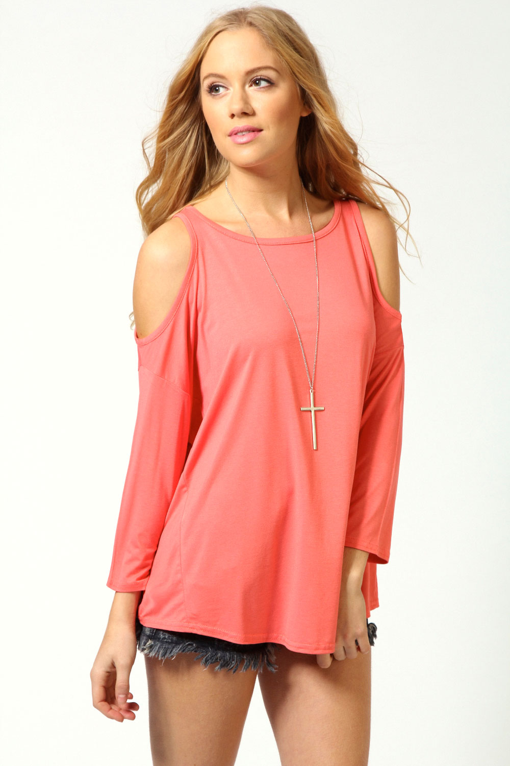 3051ba7963b Boohoo-Womens-Ladies-Charlotte-Cut-Out-Shoulder-Top thumbnail