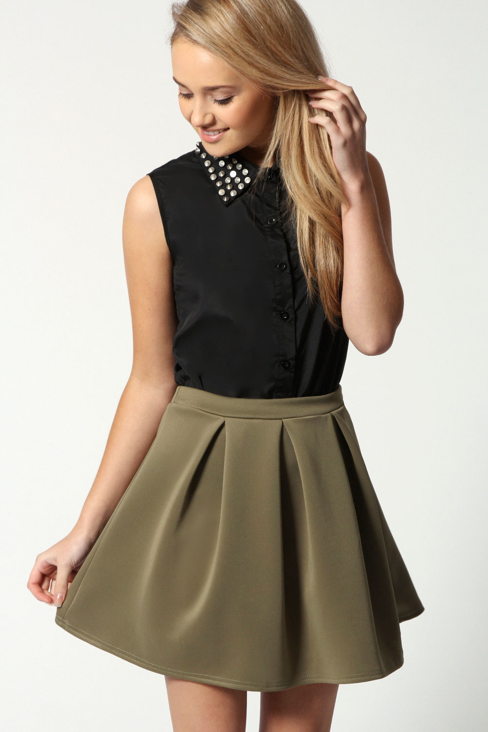 Boohoo-Kate-Box-Pleat-Skater-Hip-Length-Skirt thumbnail 5