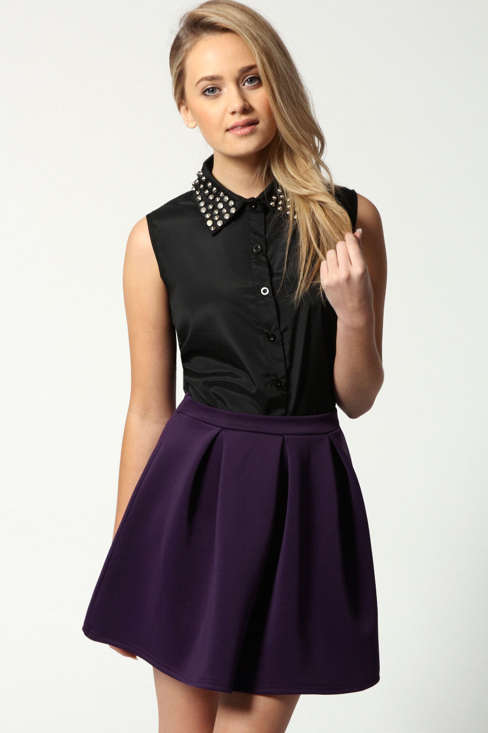Boohoo-Kate-Box-Pleat-Skater-Hip-Length-Skirt thumbnail 8
