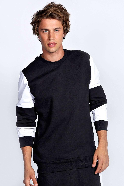 Boohoo Mens Colour Block Crew Neck Cotton Sweater With Shoulder Zip in Black