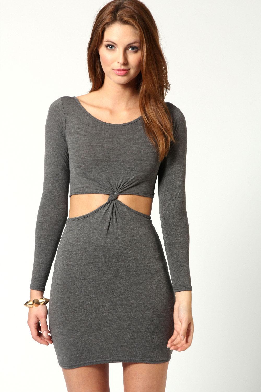 Boohoo-Womens-Ladies-Wow-Tasha-Long-Sleeve-Knot-Dress