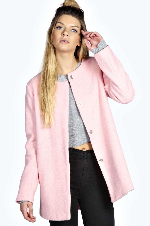 Boohoo Womens Zena Pink Collarless Boucle Coat in Taupe | eBay