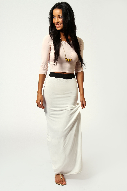 boohoo womens helena contrast waistband jersey maxi